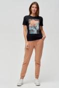 Оптом Женские футболки с принтом черного цвета 1601Ch в Екатеринбурге