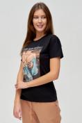 Оптом Женские футболки с принтом черного цвета 1601Ch в Екатеринбурге, фото 3