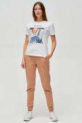 Оптом Женские футболки с принтом белого цвета 1614Bl, фото 2