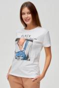 Оптом Женские футболки с принтом белого цвета 1614Bl