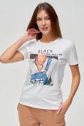 Оптом Женские футболки с принтом белого цвета 1614Bl, фото 4