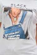 Оптом Женские футболки с принтом белого цвета 1614Bl, фото 6