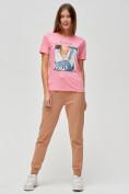 Оптом Женские футболки с принтом розового цвета 1614R в Екатеринбурге, фото 2
