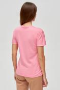 Оптом Женские футболки с принтом розового цвета 1614R в Екатеринбурге, фото 4
