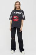 Оптом Женские футболки с принтом темно-серого цвета 1644TC в Екатеринбурге, фото 2