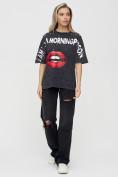 Оптом Женские футболки с принтом темно-серого цвета 1644TC в Екатеринбурге, фото 4