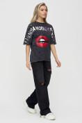 Оптом Женские футболки с принтом темно-серого цвета 1644TC в Екатеринбурге, фото 5
