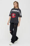 Оптом Женские футболки с принтом темно-серого цвета 1644TC в Екатеринбурге, фото 6