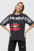 Оптом Женские футболки с принтом темно-серого цвета 1644TC в Екатеринбурге