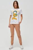 Оптом Женские футболки с принтом белого цвета 1645Bl