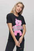 Оптом Женские футболки с принтом черного цвета 1681Ch в Екатеринбурге, фото 5