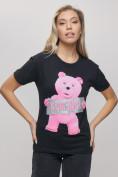 Оптом Женские футболки с принтом черного цвета 1681Ch в Екатеринбурге, фото 6