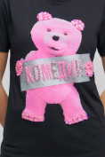 Оптом Женские футболки с принтом черного цвета 1681Ch в Екатеринбурге, фото 7