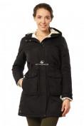 Оптом Куртка парка демисезонная женская черного цвета 17099Ch в  Красноярске, фото 2