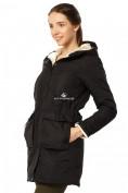 Оптом Куртка парка демисезонная женская черного цвета 17099Ch в  Красноярске, фото 3