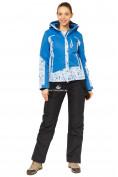 Оптом Костюм горнолыжный женский синего цвета 017122S в  Красноярске