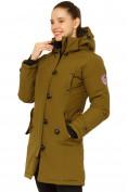Оптом Куртка парка зимняя женская цвета хаки 1802Kh в Екатеринбурге, фото 3