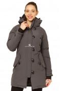 Оптом Куртка парка зимняя женская темно-серого цвета 1802TC в Казани, фото 2