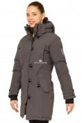 Оптом Куртка парка зимняя женская темно-серого цвета 1802TC в Казани, фото 3