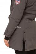Оптом Куртка парка зимняя женская темно-серого цвета 1802TC в Казани, фото 5