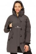 Оптом Куртка парка зимняя женская темно-серого цвета 1802TC в Казани, фото 6