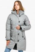 Оптом Куртка парка зимняя женская светло-серого цвета 1805SS, фото 3