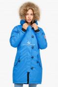 Оптом Куртка парка зимняя женская синего цвета 1805S в Казани, фото 3