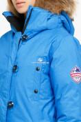 Оптом Куртка парка зимняя женская синего цвета 1805S в Казани, фото 6