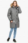 Оптом Куртка парка зимняя женская серого цвета 1805Sr в Нижнем Новгороде