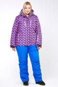 Оптом Куртка горнолыжная женская большого размера фиолетового цвета 18112F в  Красноярске, фото 10