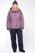 Оптом Куртка горнолыжная женская большого размера малинового цвета 18112M в Нижнем Новгороде, фото 11