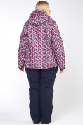 Оптом Куртка горнолыжная женская большого размера малинового цвета 18112M в Нижнем Новгороде, фото 5