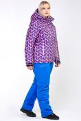 Оптом Куртка горнолыжная женская большого размера фиолетового цвета 18112F в  Красноярске, фото 9