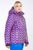 Оптом Куртка горнолыжная женская большого размера фиолетового цвета 18112F в Екатеринбурге, фото 2