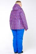 Оптом Куртка горнолыжная женская большого размера фиолетового цвета 18112F в  Красноярске, фото 3