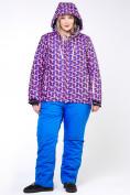 Оптом Куртка горнолыжная женская большого размера фиолетового цвета 18112F в  Красноярске, фото 5