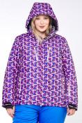 Оптом Куртка горнолыжная женская большого размера фиолетового цвета 18112F в  Красноярске, фото 6