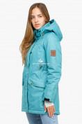 Оптом Куртка парка зимняя женская бирюзового цвета 18113Br в Казани, фото 2