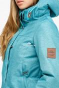 Оптом Куртка парка зимняя женская бирюзового цвета 18113Br в Казани, фото 4