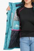 Оптом Куртка парка зимняя женская бирюзового цвета 18113Br в Казани, фото 6