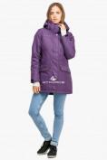 Оптом Куртка парка зимняя женская фиолетового цвета 18113F в  Красноярске