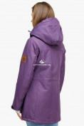 Оптом Куртка парка зимняя женская фиолетового цвета 18113F в  Красноярске, фото 4