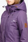 Оптом Куртка парка зимняя женская фиолетового цвета 18113F в  Красноярске, фото 5
