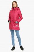 Оптом Куртка парка зимняя женская малинового цвета 18113М в Екатеринбурге