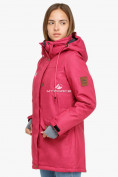 Оптом Куртка парка зимняя женская малинового цвета 18113М в Екатеринбурге, фото 2