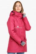 Оптом Куртка парка зимняя женская малинового цвета 18113М в Екатеринбурге, фото 3