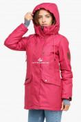 Оптом Куртка парка зимняя женская малинового цвета 18113М в Екатеринбурге, фото 4