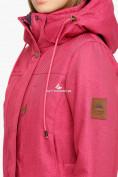 Оптом Куртка парка зимняя женская малинового цвета 18113М, фото 6
