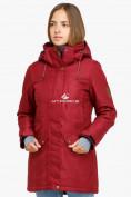 Оптом Куртка парка зимняя женская бордового цвета 18113B в  Красноярске, фото 2