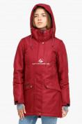 Оптом Куртка парка зимняя женская бордового цвета 18113B в  Красноярске, фото 3